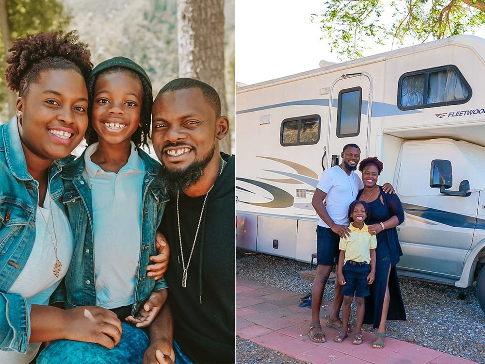 A family of 3 downsized to a 270-square-foot RV to save money and travel across the country