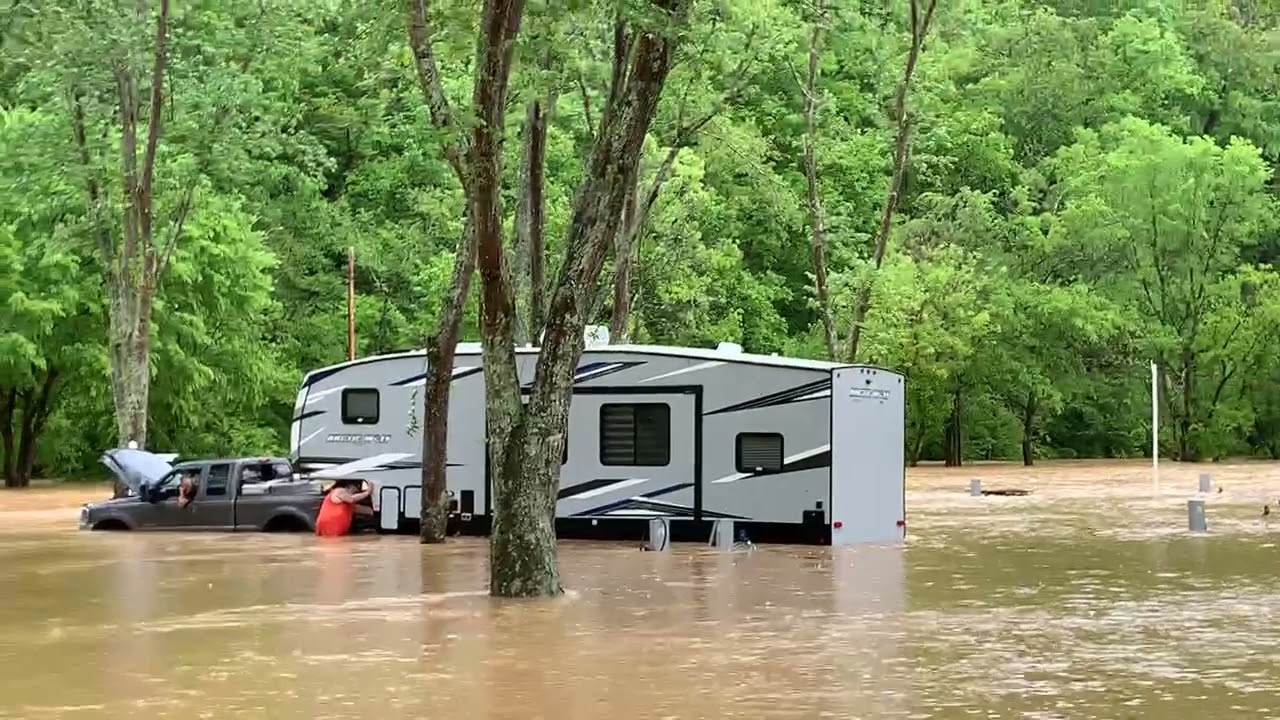 Ford Truck Rescues Camper in Flooded RV Park